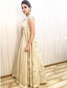 gown with an ethnic trench as pre-wedding outfit styles