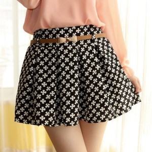 Printed pleated A-line skirt