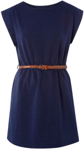 Navy blue tunic dress with a brown belt