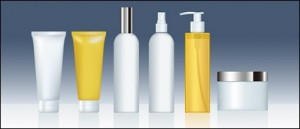 Shampoo, conditioner and sunscreen lotion bottles