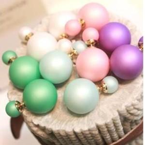 Matte double pearl earrings