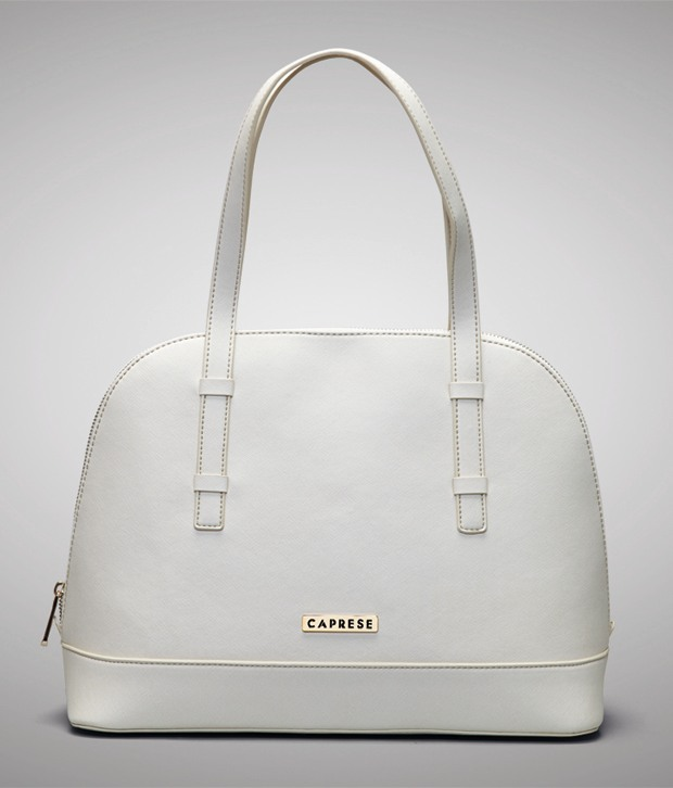 Dark Grey Caprese Handbag Pearl White
