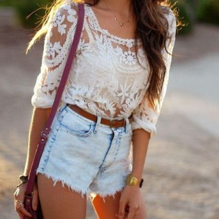 lace top with denim