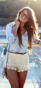 lacy shorts with denim