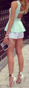 mint cutout peplum top