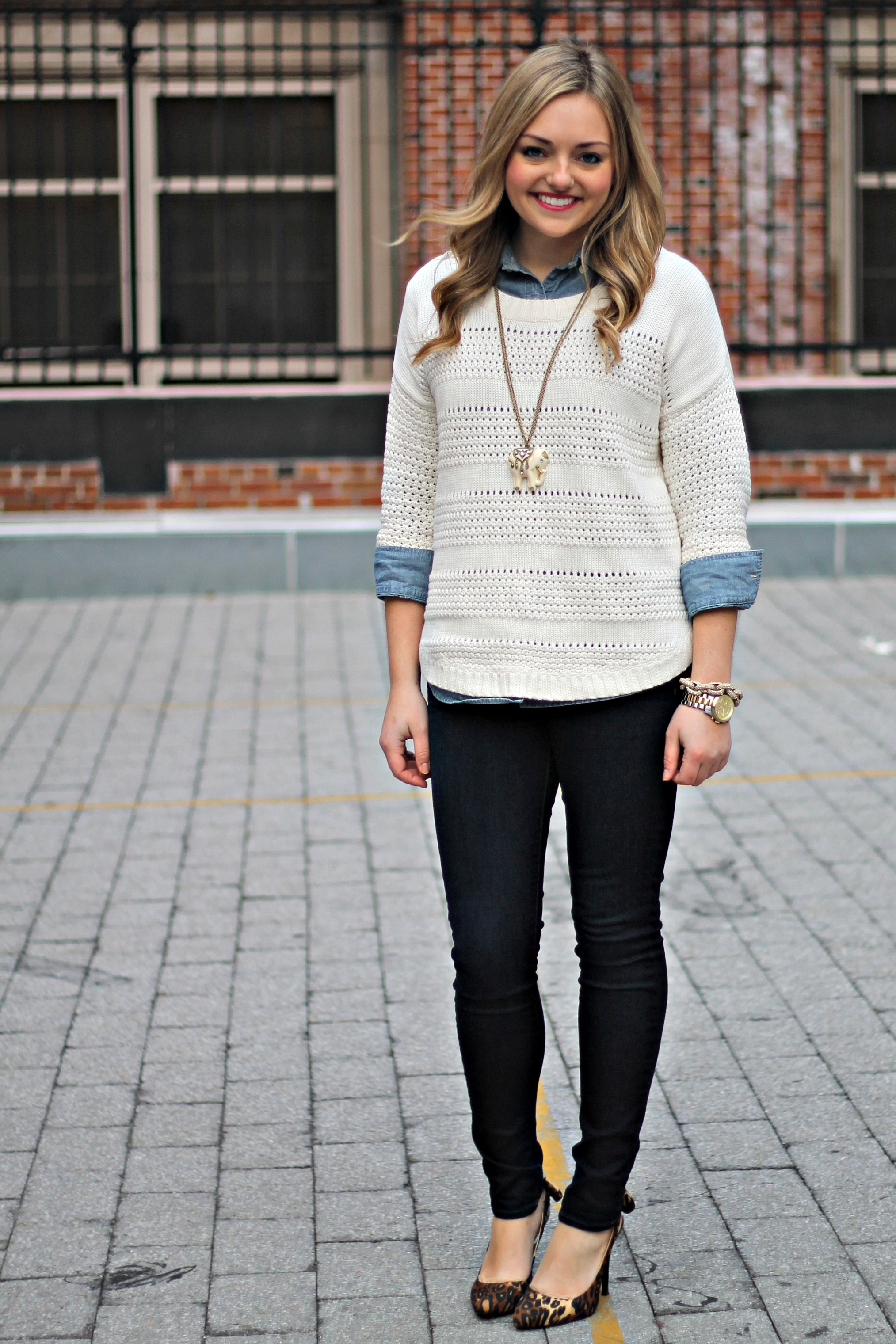 white button down shirt under a sweater-and-blue-jeans | Wonder ...