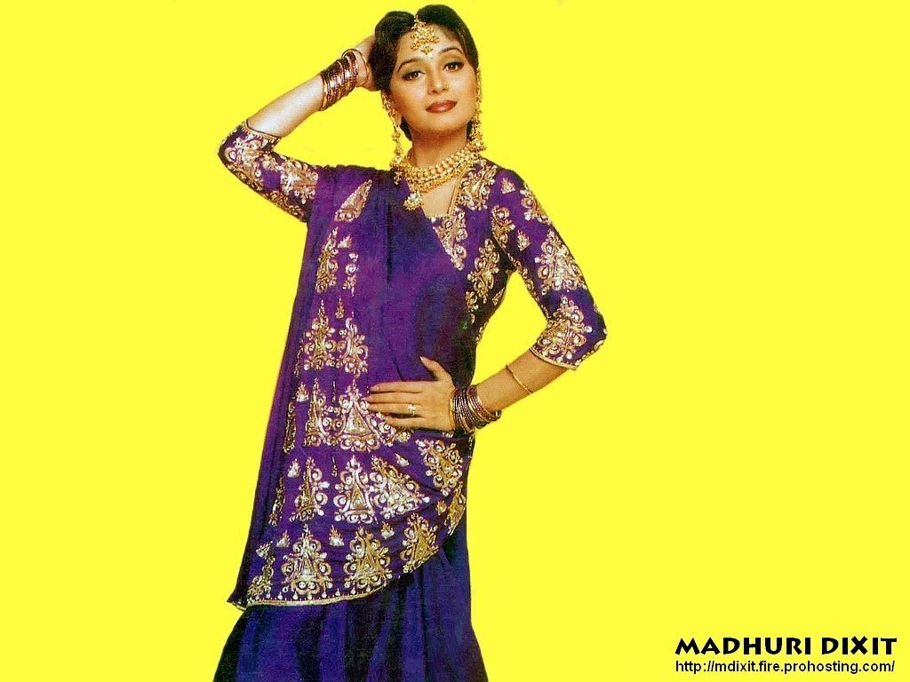 madhuri dixit purple saree