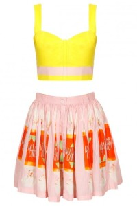 pink and yellow candy print skirt with bustier-masaba gupta