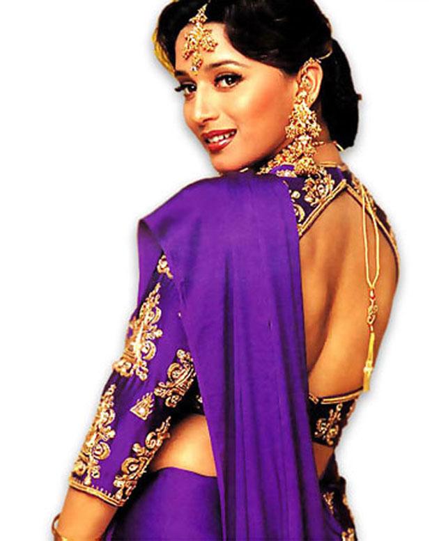 purple backless blouse