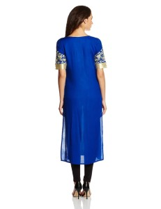 blue STRAIGHT FIT KURTI from back