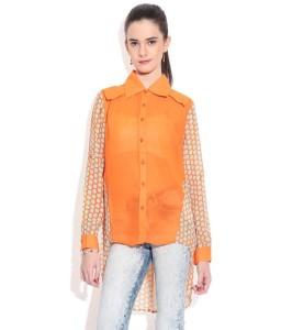 Remanika-Orange-Poly-Georgette-Shirt