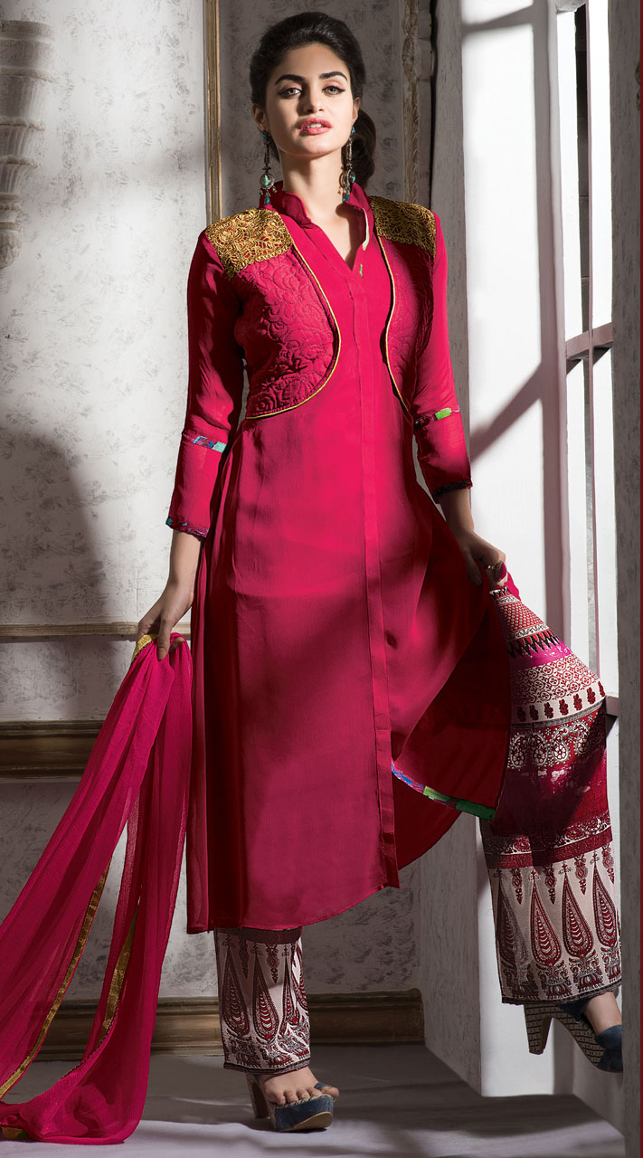 Shirt design with plazo -  Dark Pink Georgette Short Koti Style Suit With