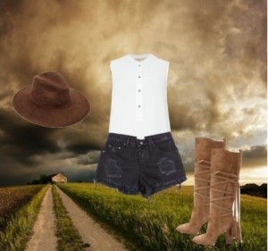 country suede hat and boots