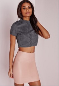 suede crop top and skirt
