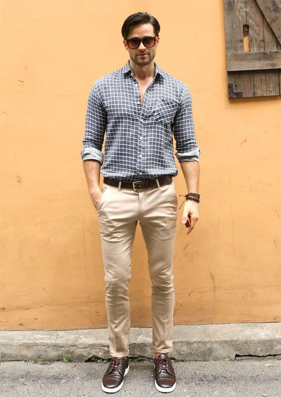 10 best looks for men for valentine 39 s day wonder wardrobes for Mens khaki shirt outfit