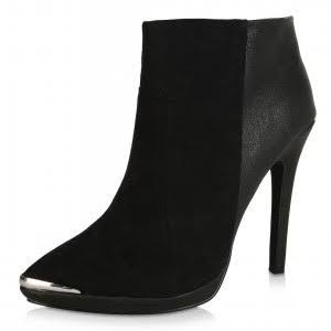 London Rebel Pointed Toe Heeled Ankle Boots