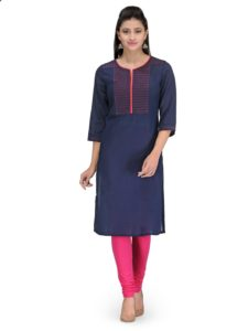 9-5 comfort blue straight fit kurta online office wear