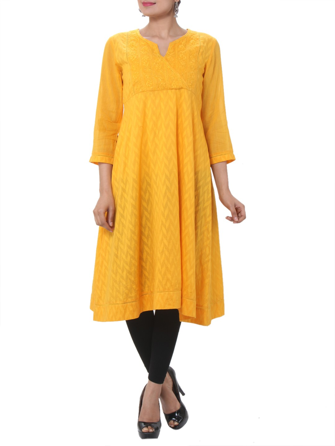 yellow flared kurta shopping mall