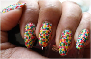 colorful dots nail art designs