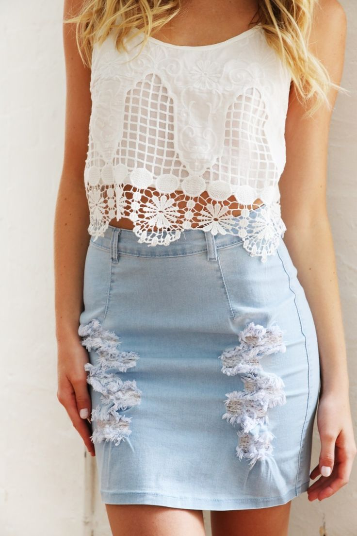 denim lust ten cute ways to style your denim skirt