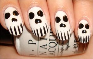 ghost face as nail art design