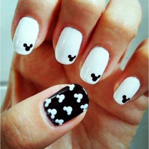 monochromic mickeys on nail art design