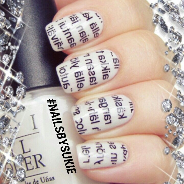 Nailstagram 15 fun and gorgeous nail art designs newspaper on the nails as nail art designs prinsesfo Images
