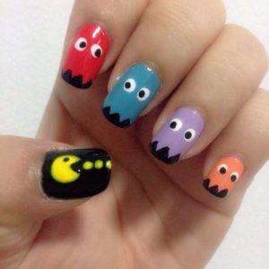 pacman nail art design