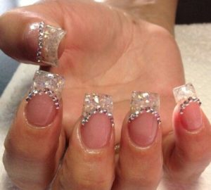 pastel stones as nail art design