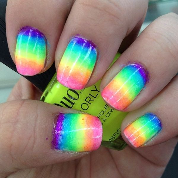 rainbow on fingers as nail art design