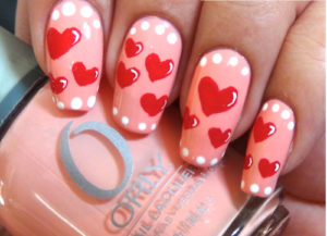 soft hearts as nail art design
