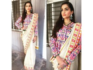 statement blouse with sari as pre-wedding outfit styles
