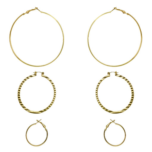 3 Sized Golden Hoops Earrings 01