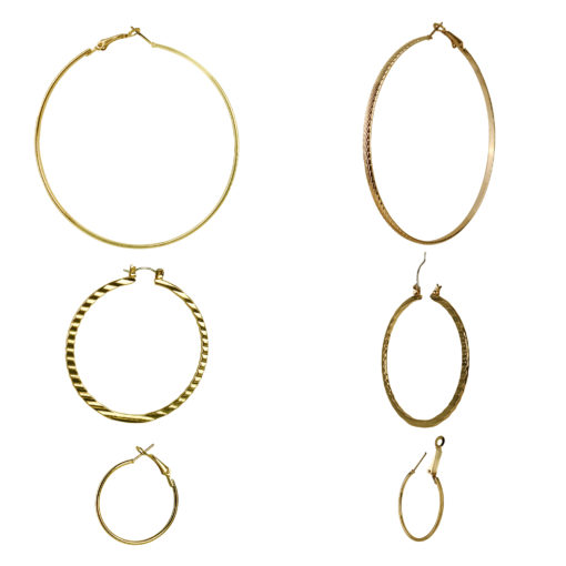 3 Sized Golden Hoops Earrings 03