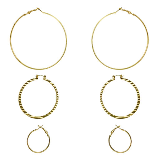 3 Sized Golden Hoops Earrings
