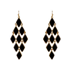 Black and Gold Honeycomb Earrings 01