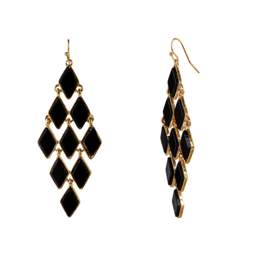 Black and Gold Honeycomb Earrings 02
