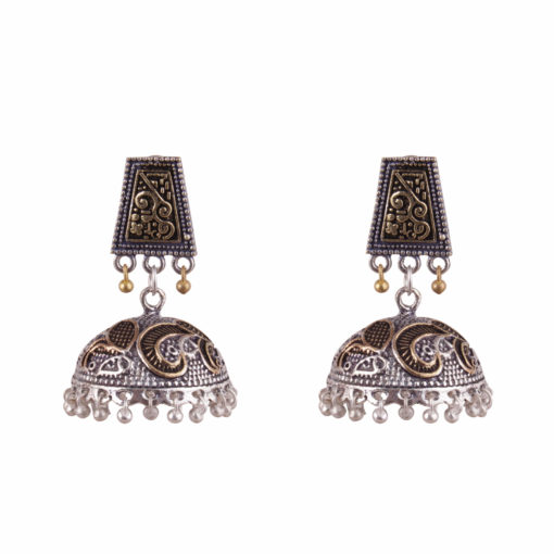 Dual Toned Aztec Jhumkas Earrings 01