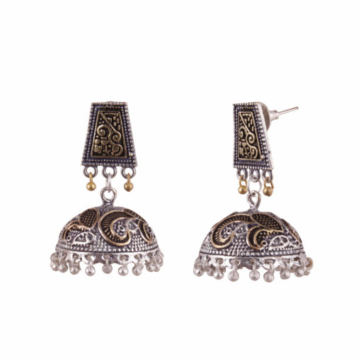 Dual Toned Aztec Jhumkas Earrings 02