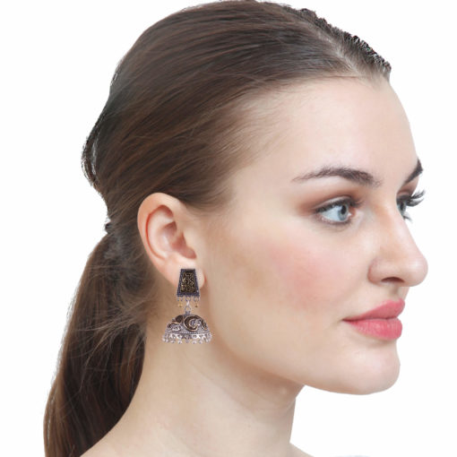 Dual Toned Aztec Jhumkas Earrings 03