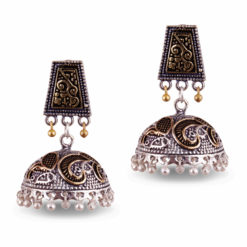 Dual Toned Aztec Jhumkas Earrings