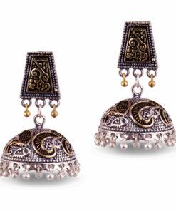 Dual Toned Aztec Jhumkas Earrings
