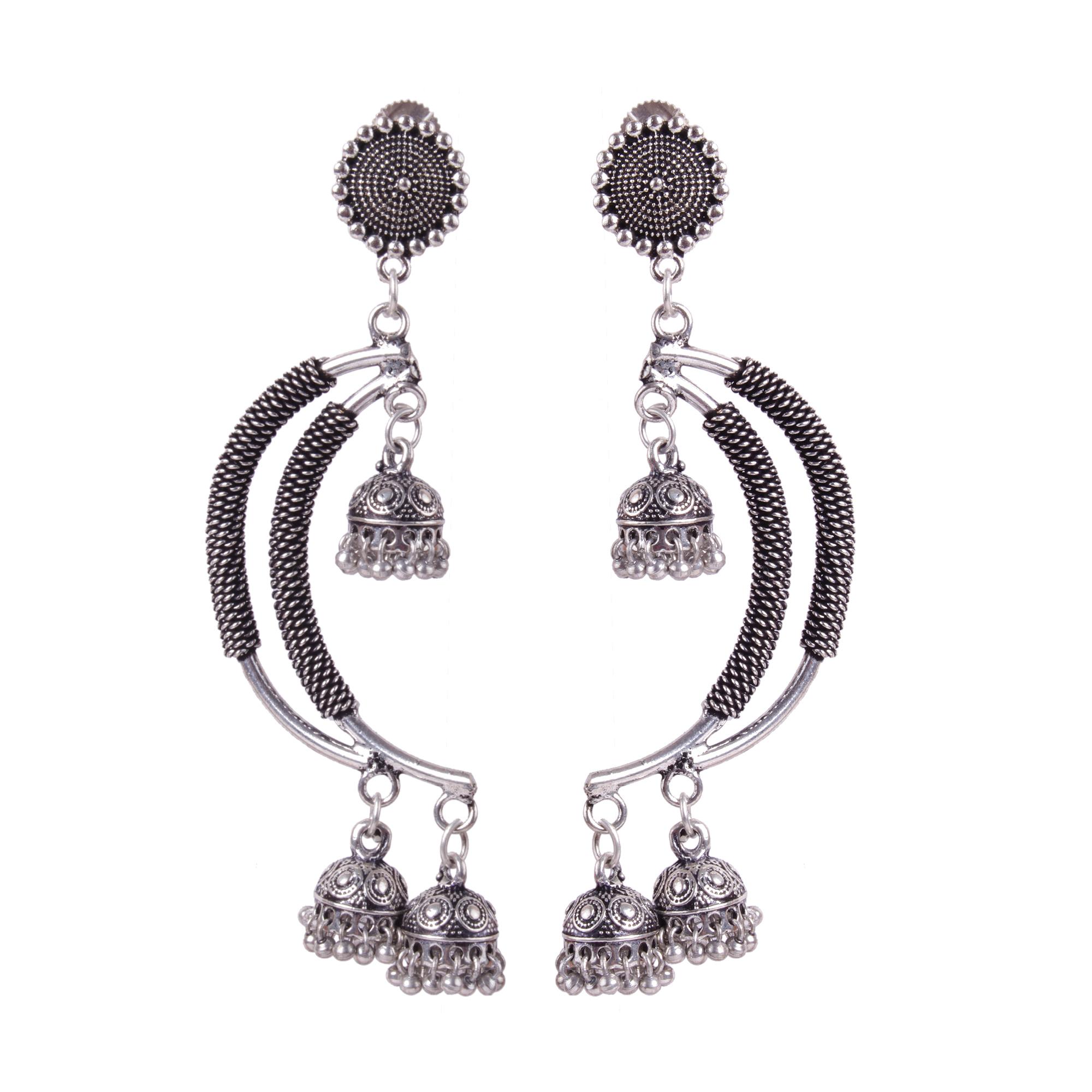 Crescent Moon German Silver Earrings