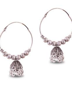 Ethnic Jhumka with Silver Balls Earrings
