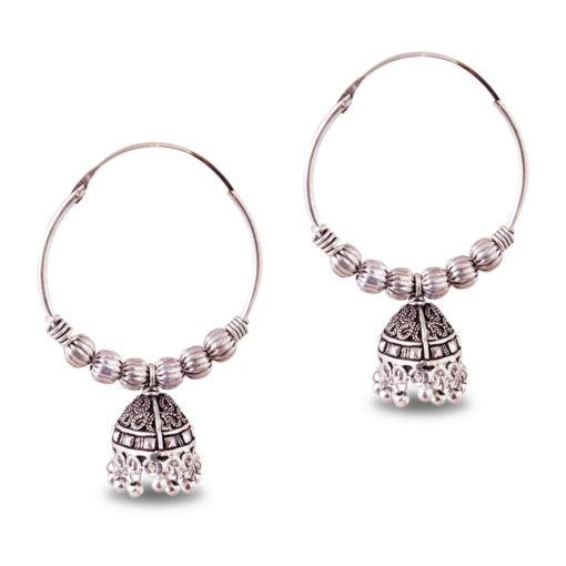 Ethnic Jhumka with Silver Balls Earrings
