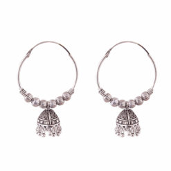 Ethnic Jhumka with silver balls Earrings 01