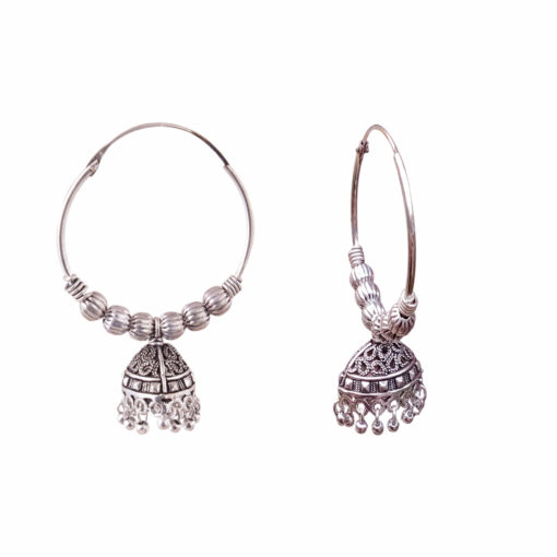 Ethnic Jhumka with silver balls Earrings 02