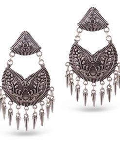 Ethnic Tasselled Silver Earrings