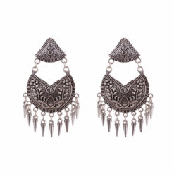 Ethnic tasselled silver earrings 01