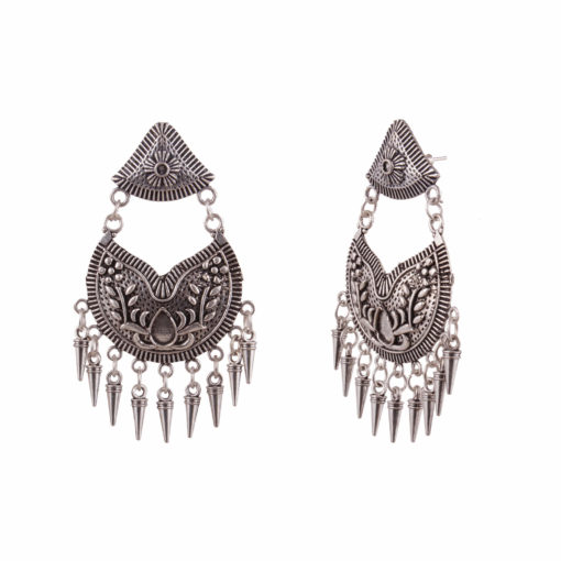 Ethnic tasselled silver earrings 03